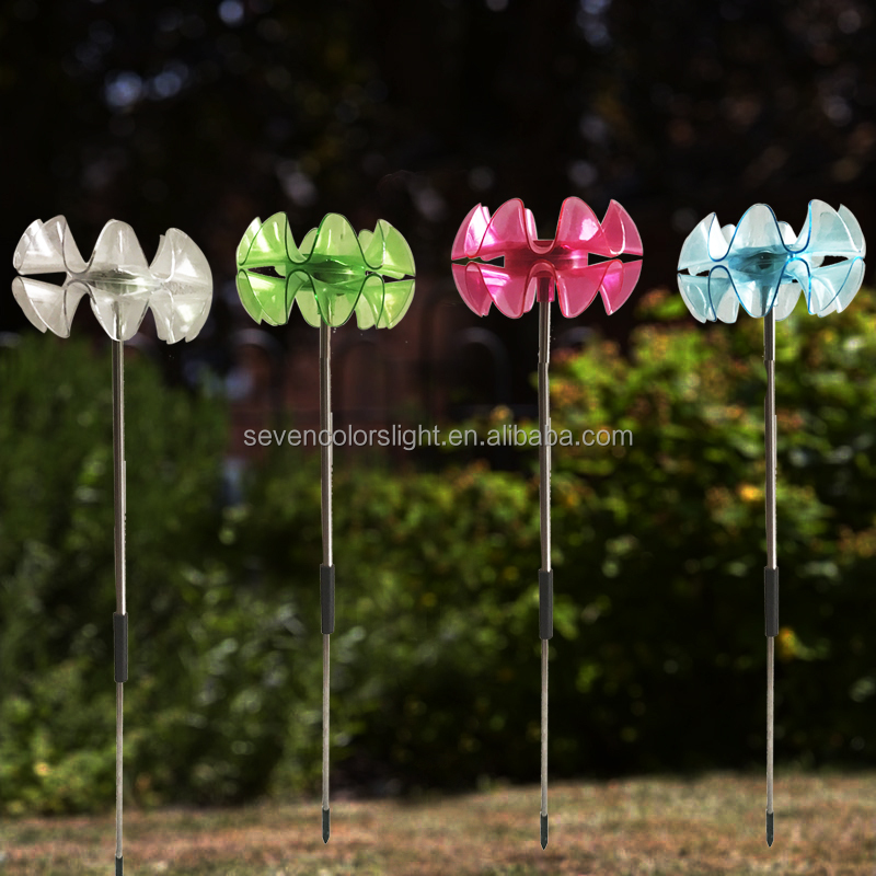 SCL0236 color plastic led flower cheap outdoor solar light
