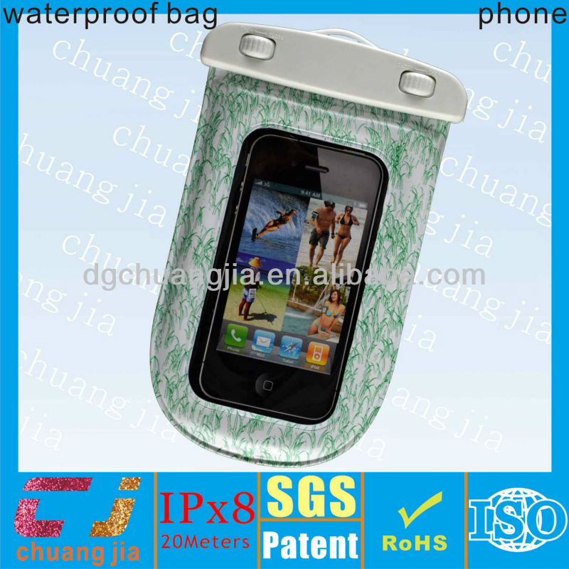 2014 green color cute new design water proof pouch for iphone 5