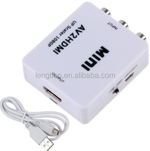 MINI AV Composite RCA CVBS Video Audio to HDMI Converter 720P/1080P For HD TV VHS VCR DVD