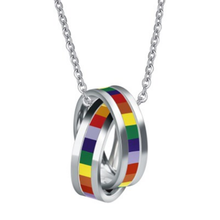 Gay Pride Rainbow Double Cross Rings Pendant Necklace LGBT Jewelry Lesbian Flag with Chain Homosexual