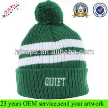 2013 winter beanie with embroidery logo knitted cheap custom made beanie with pom