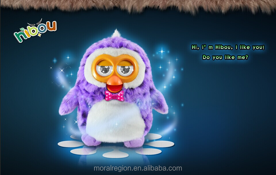 Interactive talking furbying toy with LCD eyes