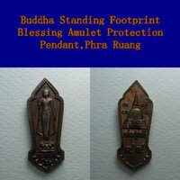 Buddha Standing Footprint Blessing Amulet Protection Necklace Pendant,Phra Ruang
