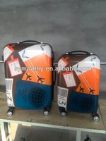 carton logo color printing 2014 hot selling super light 100% PC luggage
