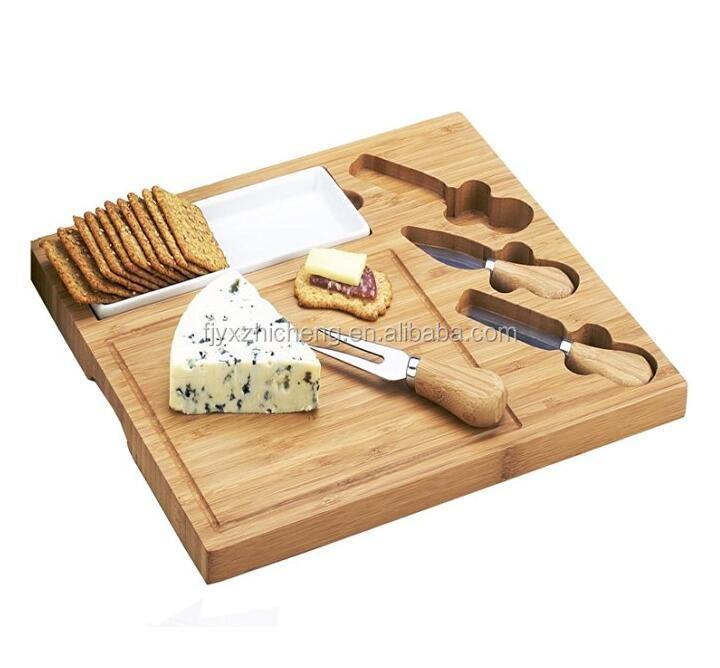 Wholesale Natural Bamboo Cheese Board Set Includes 3 Piece Cheese Knife Set Plus Porcelain Dish for Sauces