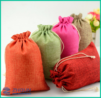 Many color modern drawstring linen jewelry gift bag