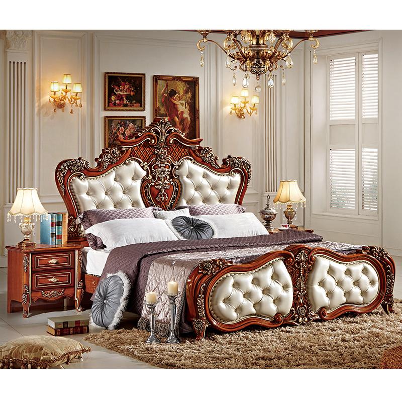 Di lusso europei rococ barocco francese re stile letto matrimoniale queen size in pelle - Rivestimento letto matrimoniale ...
