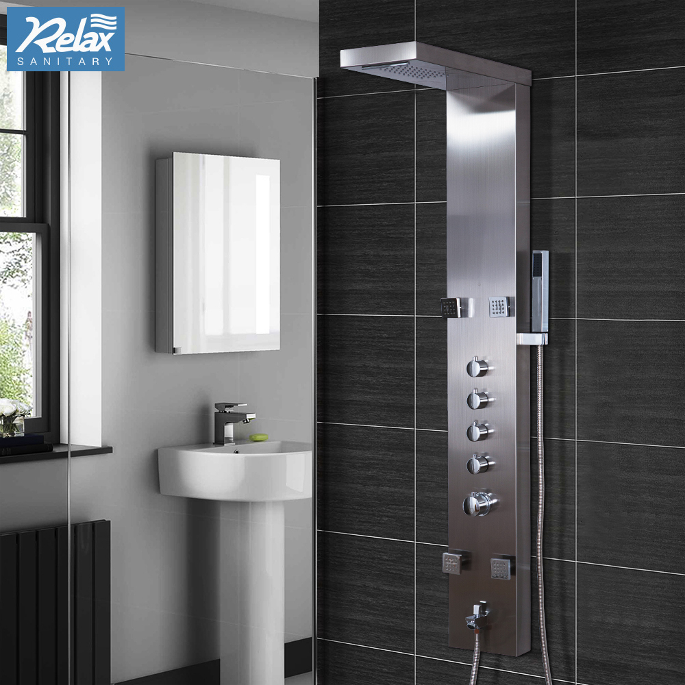 Complete Shower Panel Unit Modern Square stainless steel resin massage shower panel