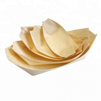2018 Hot Sale Disposable Bamboo Wooden Boat Bamboe Bootje Plates