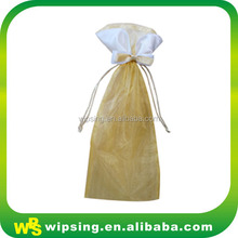 Custom organza christmas wine gift bags with tassel drawstring