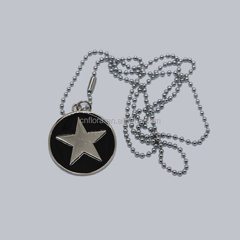 Round pet ID tags with star logo design,epoxy metal jewelry letter charms dog tag