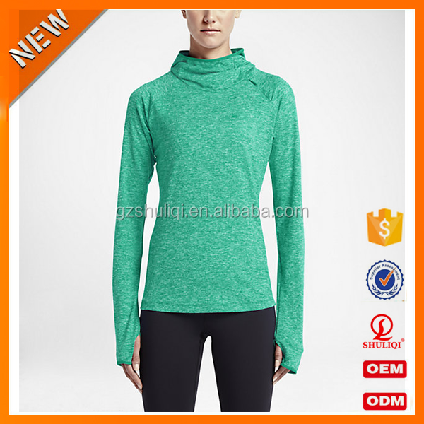 Customized 95%polyester long sleeves shirts for women/dry fit shirts with hood wholesale H-1689