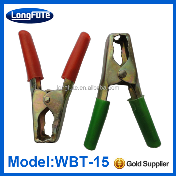 China insulated iron material battery alligator clip / piercing clamp with pinch cock dc plugs