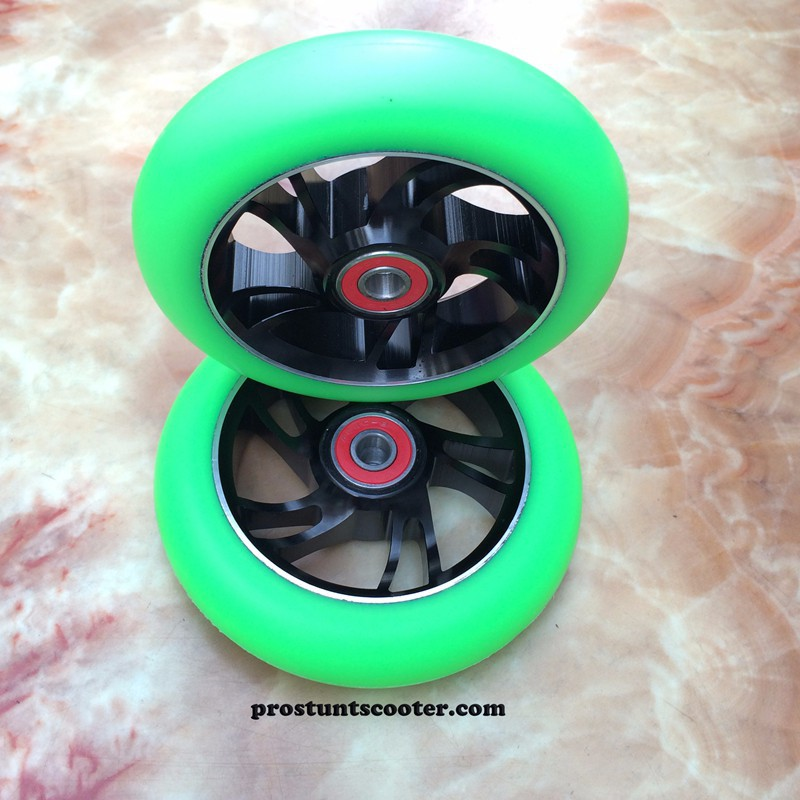 110 mm green scooter wheels with black metal core for Phoenix Scooters