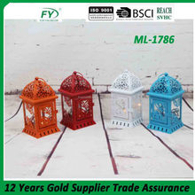 ML-1786 Unique colourful spring wedding decoration table hanging mini metal candle lantern