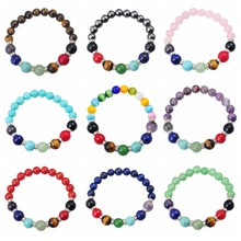 Natural 7 Chakra Gemstone Bracelet with 10MM Crystal for Reiki Healing women men jewelry bangle wholesale