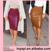 Drop Shipping Bulk Wholesale Women Girl Lady Boutique Brand Design Pu Skirts Camel/Maroon Pencil Skirt 8016