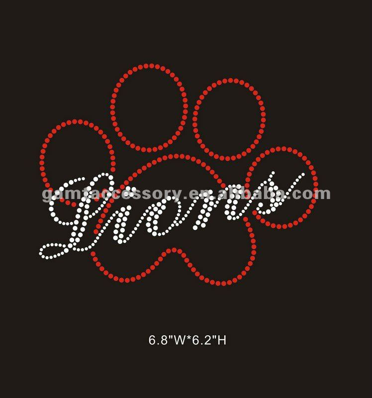 hotfix lions paw custom rhinestone transfer for clothing