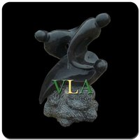 Pure Hand Carved Black Stone Abstract Sculpture ASV-069K