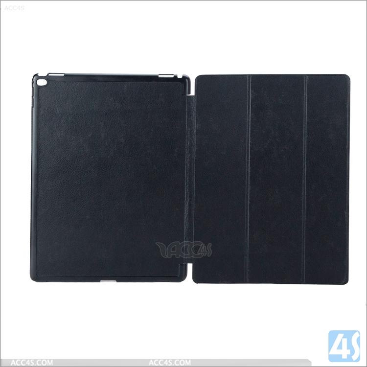 Litchi grain smart case, tri-flod standing flip leather case for ipad plus 12.9 inch with high quality