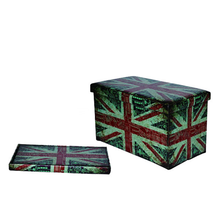 Wholesale Synthetic Leather Foldable Folding Storage Stool Ottoman With Printing Design