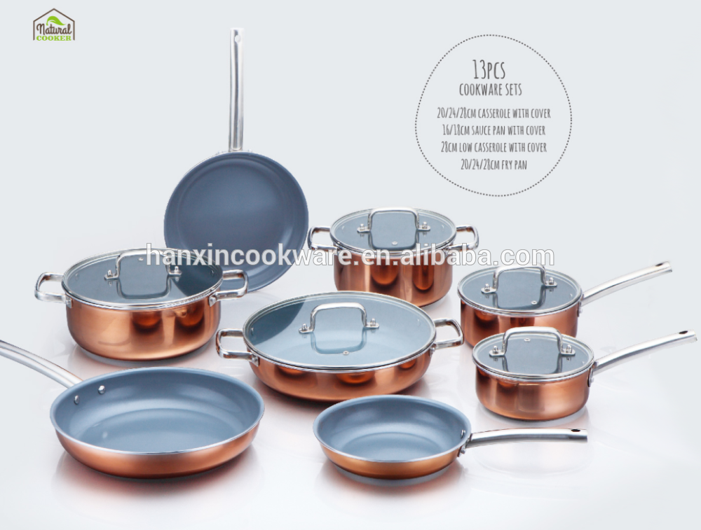 As Seen on TV 2016 New Design Aluminum Non-Stick Copper Coating Cookware Set