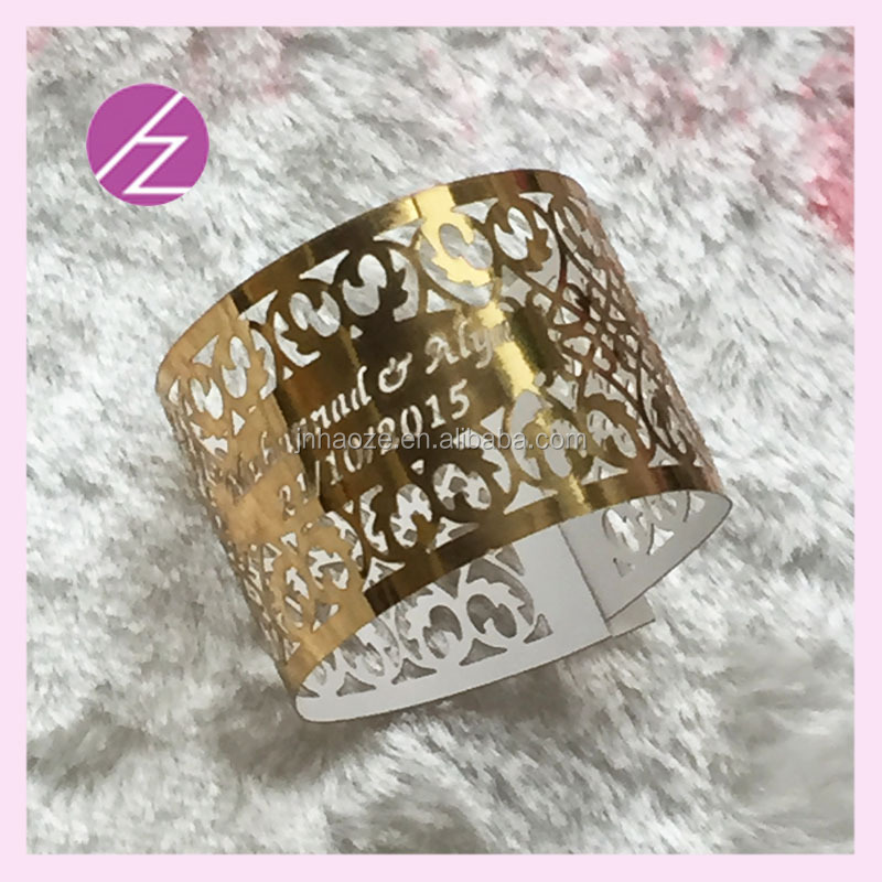 100pcs/lot Wholesale cheap free logo free words napkin ring for wedding paper crafts metallic gold paper with names