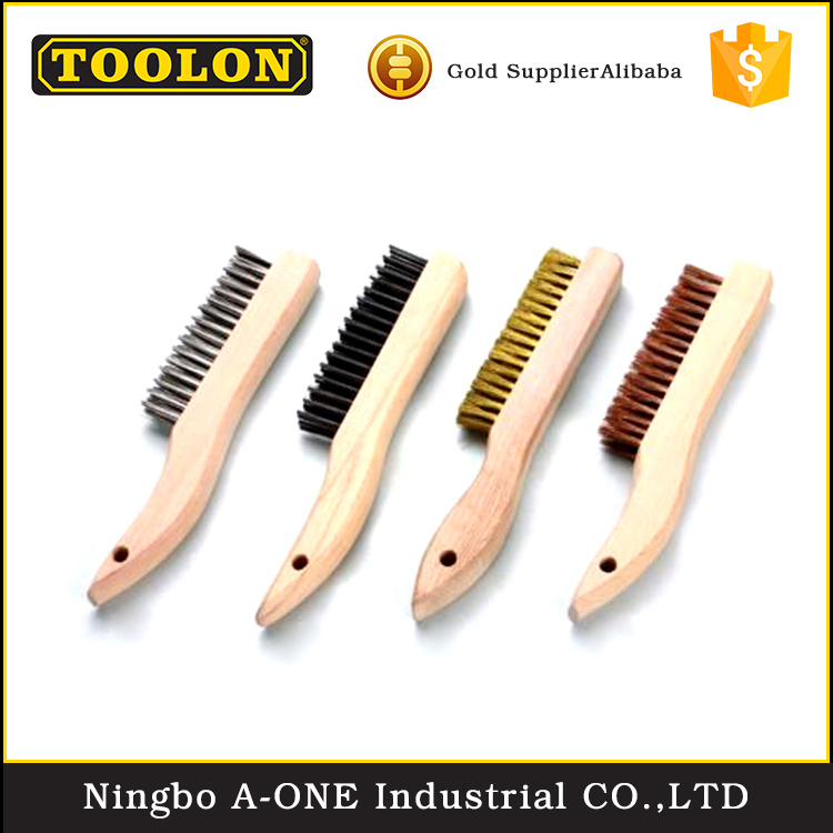 Customized polishing steel strong stable brass wire wooden handle brush