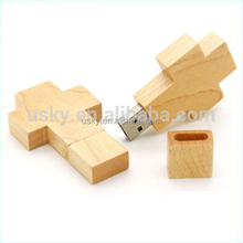 Wooden Cross USB Housing Drive promotion with laser logo Christian Wooden Cross USB Flash Drive 5 wood with customize