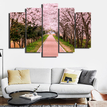 5 pcs in 1 set canvas wall murals painting ,cherry blossom path picture wall art printing for living room Decorative hot sale