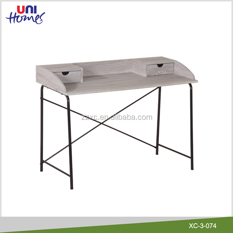 Wooden Top Writing Desk With Metal Legs