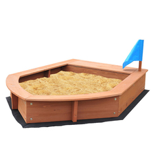 Boat shape kids wooden sandbox with canopy