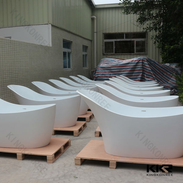 solid surface stone free standing whirlpool bathtub