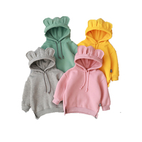 New Style Winter Toddler Baby Clothes Kids Boy Girl Hooded Cartoon Sweatshirt With 3D Ear Cute Plain Hoodies Customize Designs