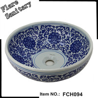 fine china white and blue mineral cast wash basins