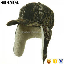 custom polar fleece winter baseball cap camo winter hats with earflap