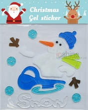 CU4096 Christmas Holiday Snowman Jelly Gel Stickers , Gel Clings