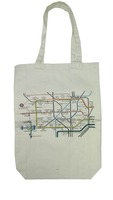 100% cotton white london underground map printed shoulder bag blank canvas tote bag for girl women wholesale