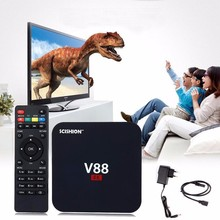 Cheapest Android TV Box V88 RK3229 4K Smart Android 5.1 up to 6.0 1GB 8GB Hybrid Internet Digital Tv IPTV Air Cable Set Top Box