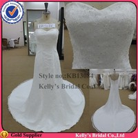 China maket and high quality sweetheart neck designer names wedding dresses with a round train