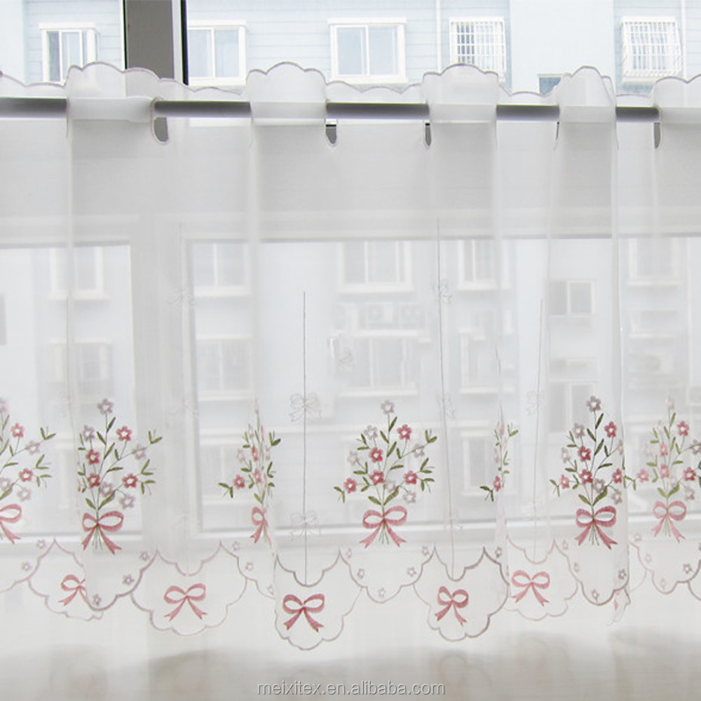 Latest White Curtain Fabrics Embroidered Patterns Kitchen Curtain,China factory wholesale cheap lace cafe curtain