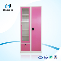 China mingxiu 2 door simple design bedroom wardrobe design / steel storage cupboard