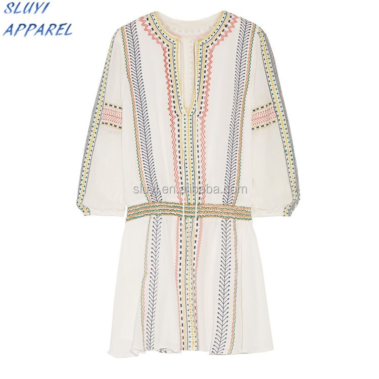 Heavy gauze dress embroidered slim casual fitted long sleeve dresses,linen A hem loose ladies oem embroidered dress