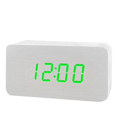 New Arrival Hot Sales Modern Type Colorful Wooden Bamboo Digital Single Face Thermometer Led Alarm Clock