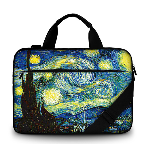 Van Gogh Oil Painting canvas Laptop Bag 17 inch canvas Laptop Case 15.6 Men's Shoulder Bag for Macbook Air 13 Pro