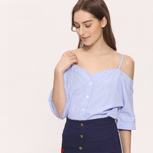 Off Shoulder Blouse Shirt Women Summer New Fashion Korean Style 2017 Sweet Slash Neck Tops Stripe Sexy Shirts Ladies Clothing