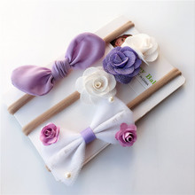 3pcs Baby Toddler Girls Bow Purple Flower Headband Elastic Nylon Hair Accessories