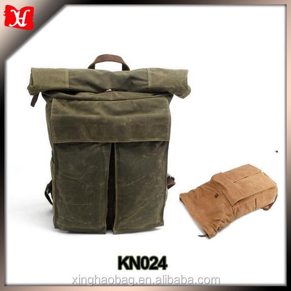 Rolltop waxed canvas adventure rucksack weekender canvas backpack