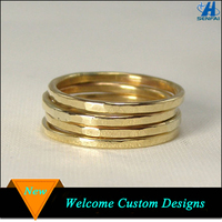 New simple design hammered stacking ladies gold finger ring