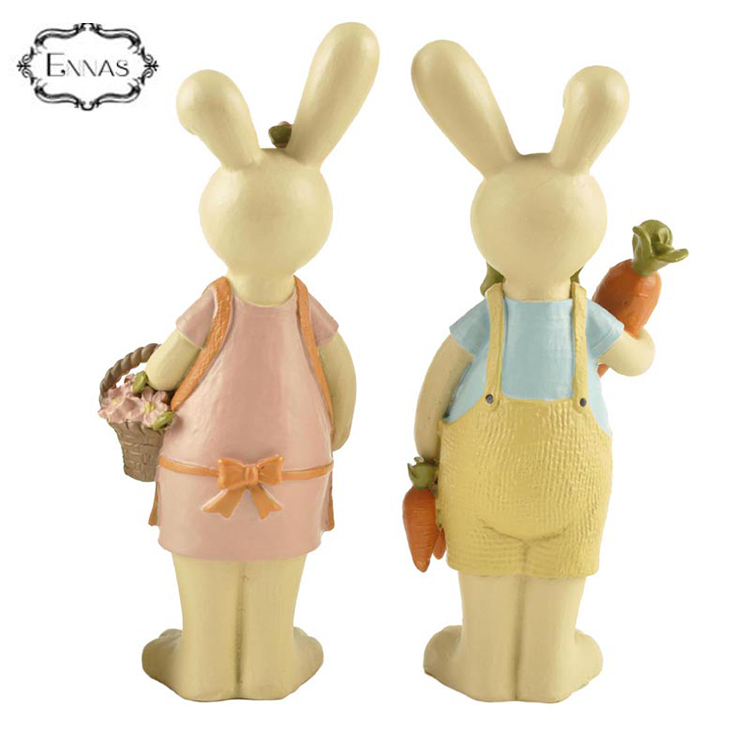 2018 new design hot sale resin easter gift rabbit statues decoration